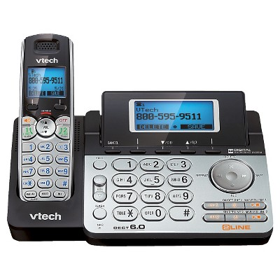 VTech DS6151 DECT 6.0 2-Line Expandable Cordless Phone with Answering System and Caller ID, Silver/Black