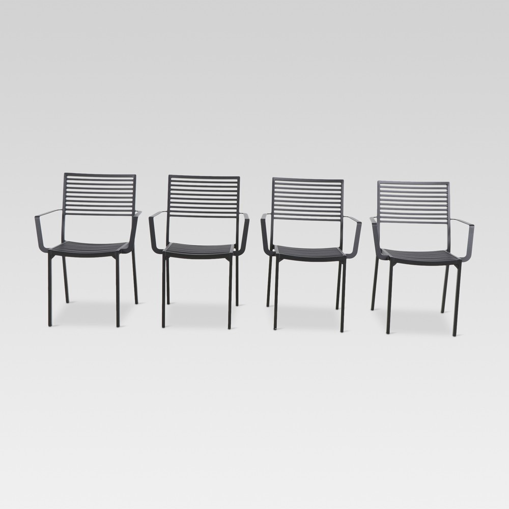 Aluminum Slat 4pk Patio Dining Chair - Black - Project 62