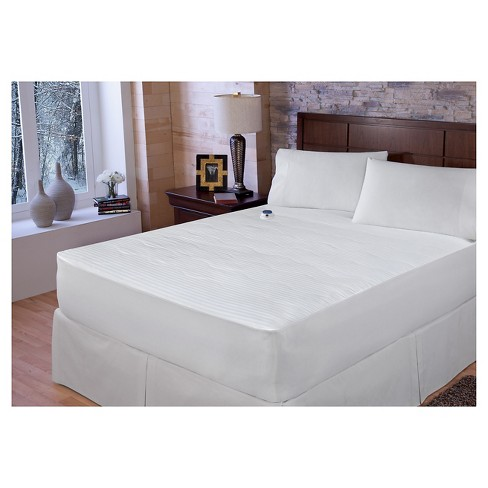 Dobby Stripe 233 Thread Count Warming Pad White - SoftHeat™ - image 1 of 3