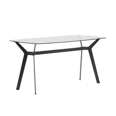 """60"""" Architect Desk/Dining Table with Clear Glass - Studio Designs Home"""