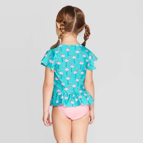 0b2f229a7c9f1 Toddler Girls' Short Sleeve Flamingo Rash Guard Set - Cat & Jack™ Aqua