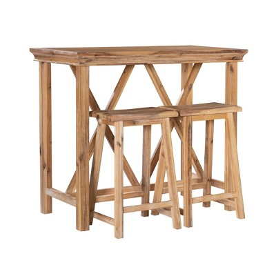 3pc Rio Tavern Counter Height Table Dining Sets Natural - Linon