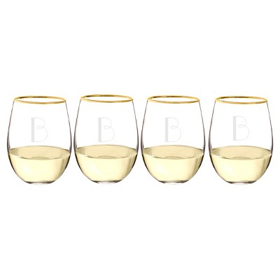 Cathy's Concepts 19.25oz Monogram Gold Rim Stemless Wine Glasses B - Set of 4