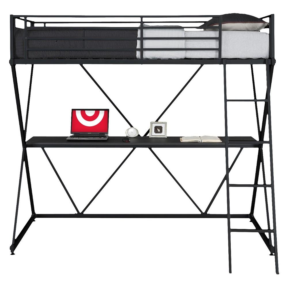 Silas Loft Bed with Desk (Twin) Black - Room & Joy