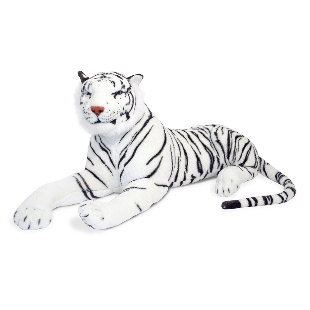 Melissa 38 Doug Giant Siberian White Tiger Lifelike Stuffed Animal Over 5 Feet Long
