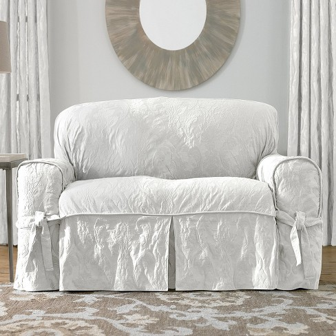 Matelasse Damask Sofa Slipcover White Sure Fit Target