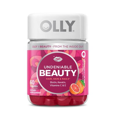 OLLY Undeniable Beauty Multivitamin Gummies for Hair Skin & Nails - Grapefruit Glam - 60ct