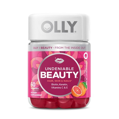 OLLY Undeniable Beauty Multivitamin Gummies for Hair Skin & Nails - Grapefruit Glam - 60ct - image 1 of 4