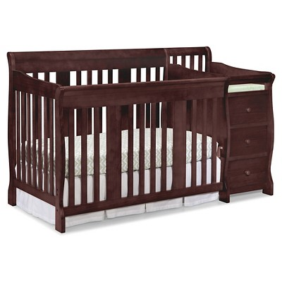 Stork Craft Portofino 4-in-1 Convertible Crib and Changer - Cherry