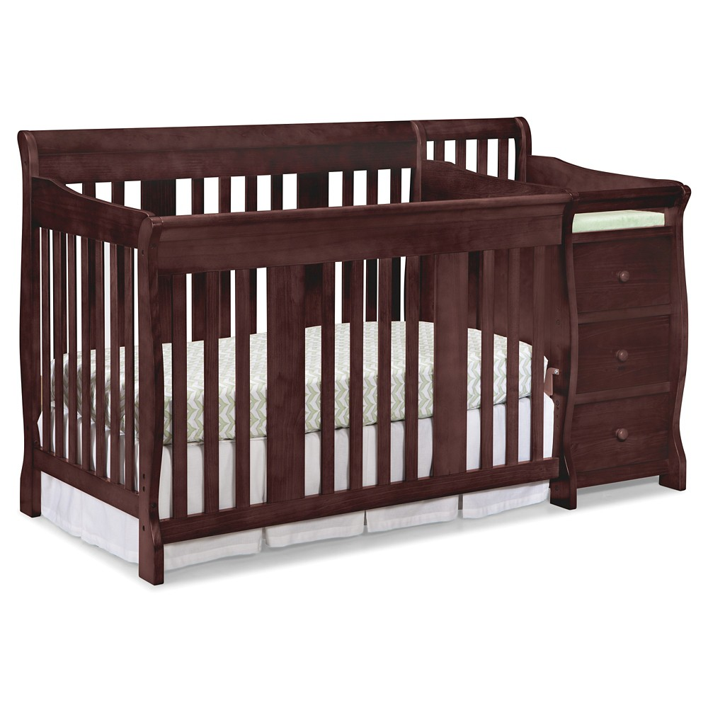 Stork Craft Portofino 4-in-1 Convertible Crib and Changer - Cherry, Red/Brown