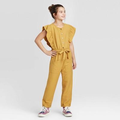 Girls' Tie Waist Button-Front Jumpsuit - art class™ Yellow M