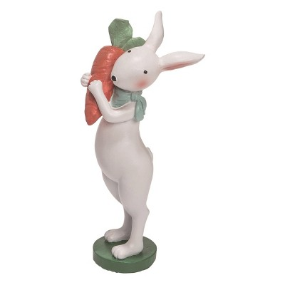 Transpac Resin 10 in. White Easter Bandana Bunny with Carrot Figurine