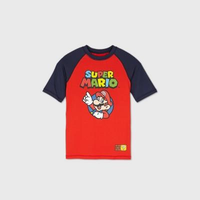 Boys' Super Mario Rash Guard Swim Shirt - Red