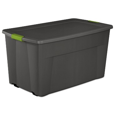 Sterilite 45gal Latching Storage Tote - Gray with Green Latch