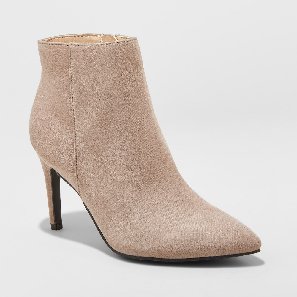 Women's Norelle Microsuede Stiletto Pointed Fashion Boots - A New Day Gray 6