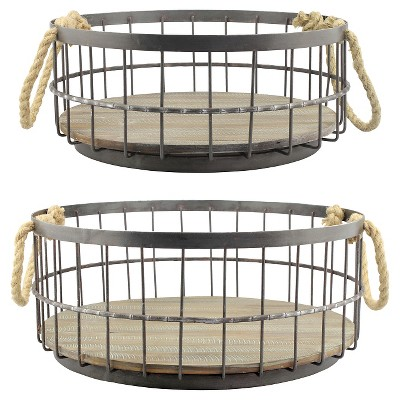 Stonebriar Coastal Wire and Wood Decorative Baskets with Handles