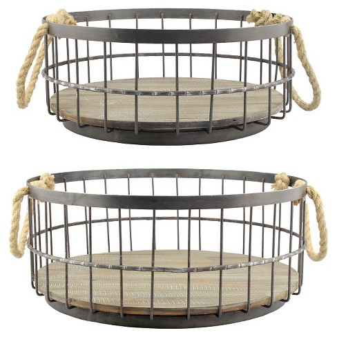 Stonebriar Coastal Wire and Wood Decorative Baskets with Handles - image 1 of 4