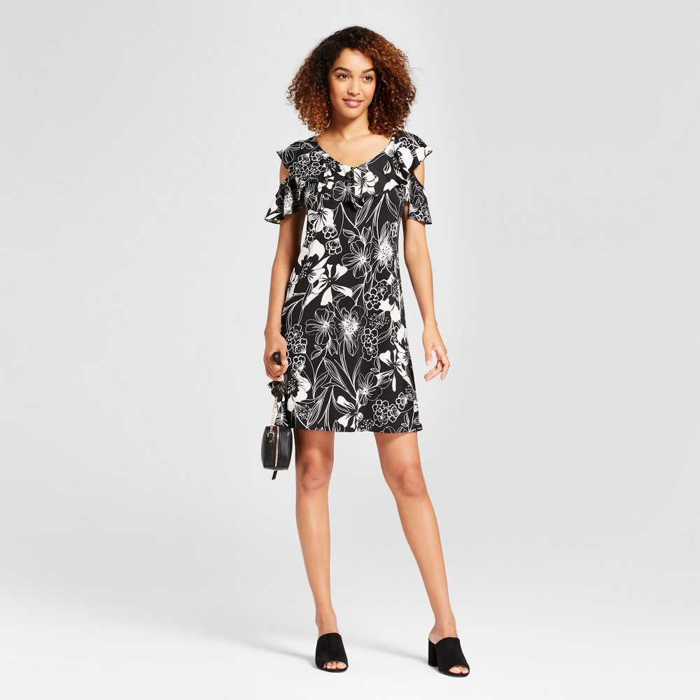 Women's Floral Print Ruffle Cold Shoulder Dress - Chiasso Black/White L