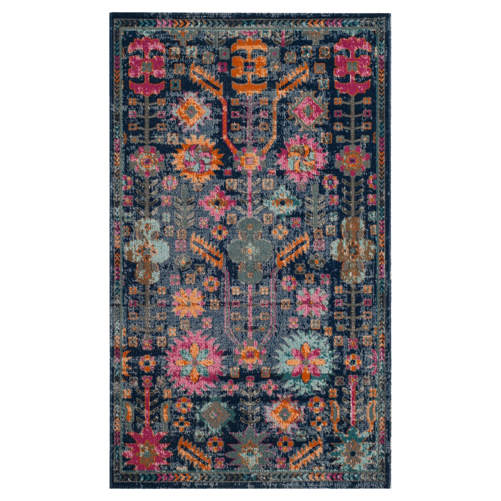 Blue Floral Loomed Accent Rug 3'x5' - Safavieh