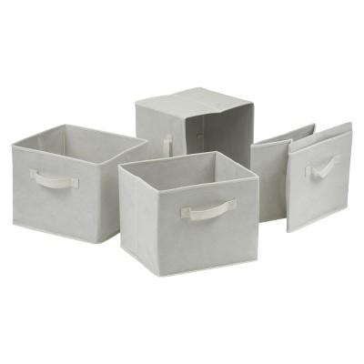 Capri Set of 4 Foldable Fabric Baskets - Beige - Winsome
