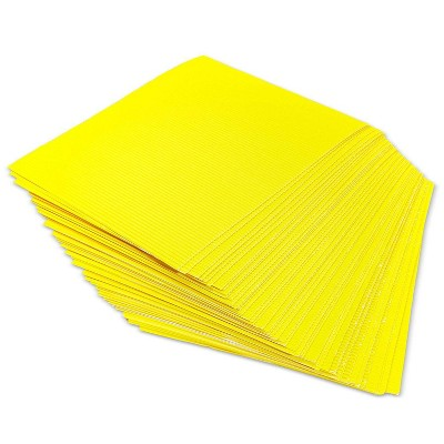 Bright Creations 48-Pack Yellow Corrugated Cardboard Paper Sheets 8.5x11 in A4 Letter Size for DIY Crafts Decor
