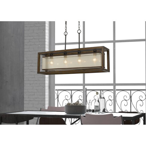60W X 4 Rubber Wood Island Chandelier with Organza Shade - Cal Lighting - image 1 of 1