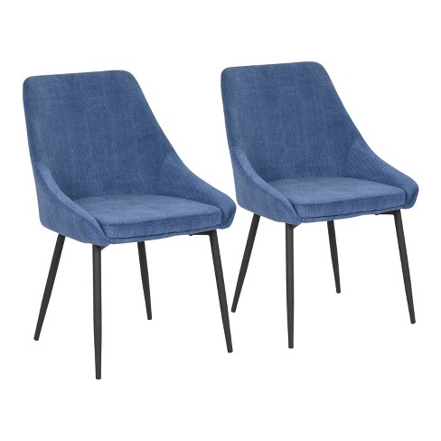 Set of 2 Diana Contemporary Dining Chairs Metal and Corduroy - LumiSource - image 1 of 4