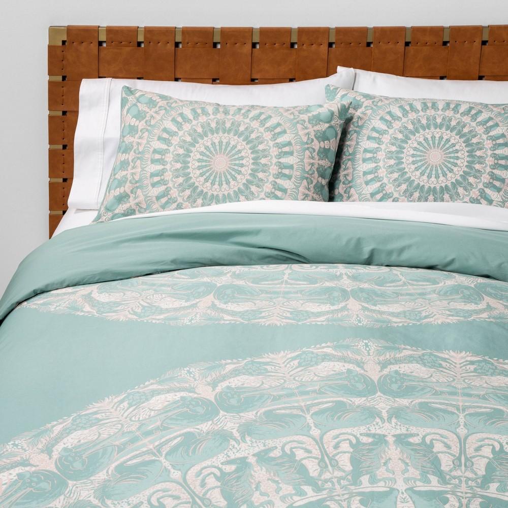 Full/Queen Animal Medallion Duvet Cover & Pillow Sham Set Blue - Opalhouse, Green