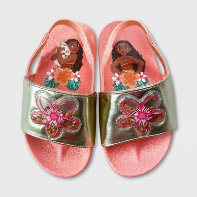 Girls' Disney Moana Slide Sandals - Orange - Disney Store