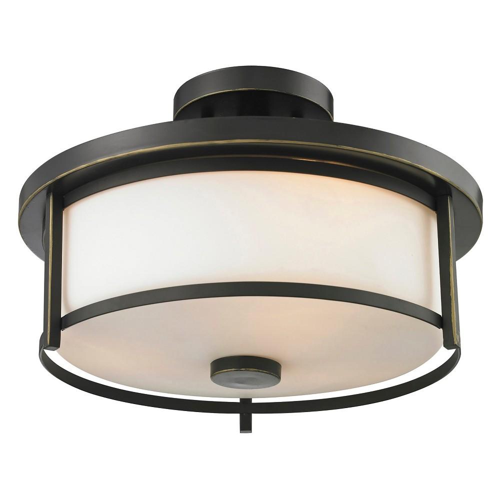 Semi Flush Mount Ceiling Lights with Matte Opal Glass (Fit 2 Bulbs) - Z-Lite, Silver