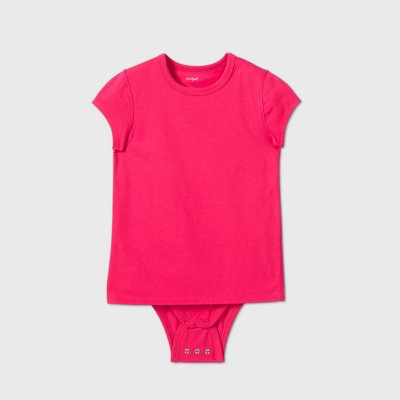 Girls' Adaptive Short Sleeve Adjustable Bodysuit - Cat & Jack™ Pink