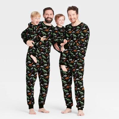 Halloween Dino Skeleton Print Matching Family Pajama Collection - Black