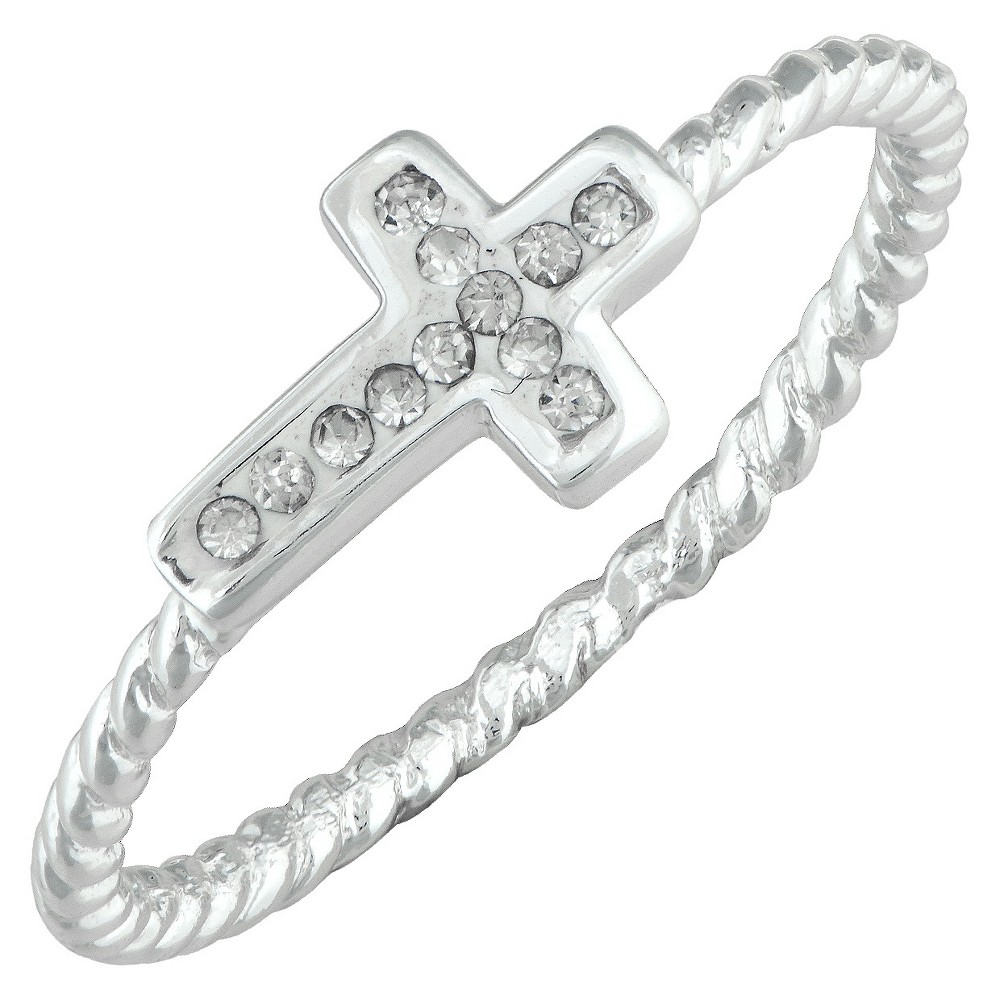 Silver Plated Crystal Side Cross Ring with Rope Detail Band - Size 5