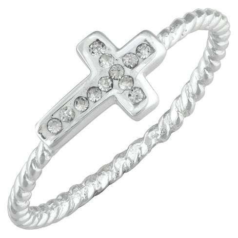 Silver Plated Crystal Side Cross Ring with Rope Detail Band - Size 5 - image 1 of 1
