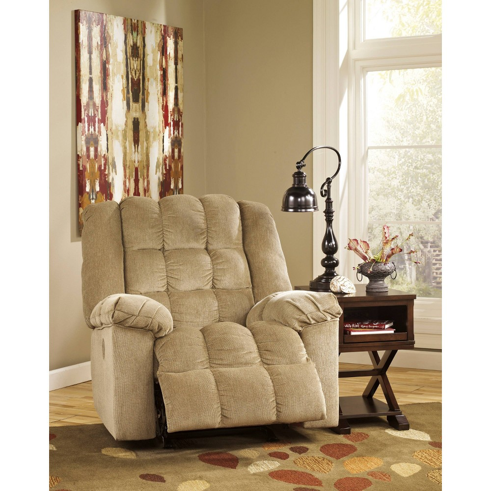 Image of Ashley Ludden Power Rocker Recliner In Twill Sand Brown - Flash Furniture