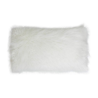 """14""""x22"""" Keller Faux Mongolian Reverse to Micromink Oversized Lumbar Pillow White - Décor Therapy"""