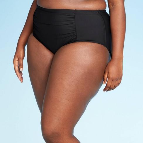 Women's Plus Size High Waist Bikini Bottom - Sea Angel Black - image 1 of 4