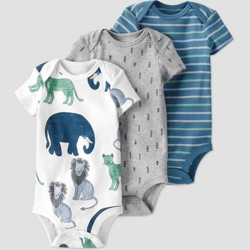 Baby Boys' 3pk Animal Bodysuit - little planet by carter's Gray/Blue - image 1 of 4