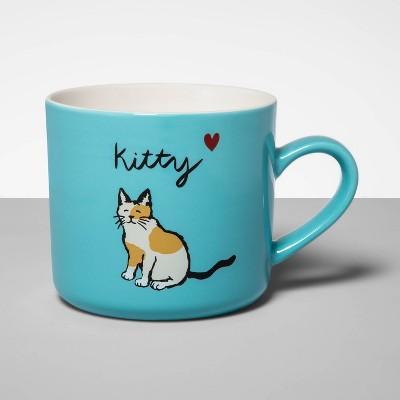 16oz Stoneware Kitty Mug Blue - Opalhouse™