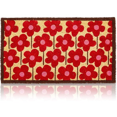 Floral Entry Way Nonslip Natural Coir Door Mat (Red, Pink, 17 x 30 in)