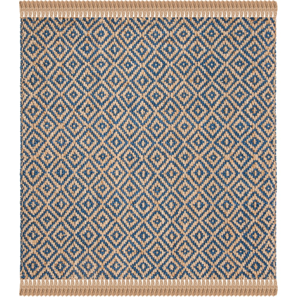 6'X6' Solid Woven Square Area Rug Tropical Blue/Natural - Safavieh