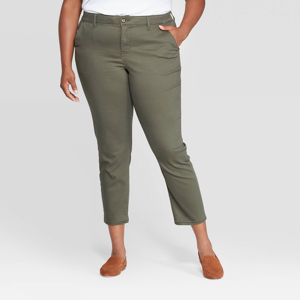 Women's Plus Size Slim Fit Chino Pants - Ava & Viv Olive 16W, Women's, Green was $27.99 now $19.59 (30.0% off)