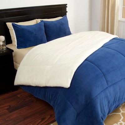 Sherpa Fleece Comforter Set (King)Navy 3pc - Yorkshire Home