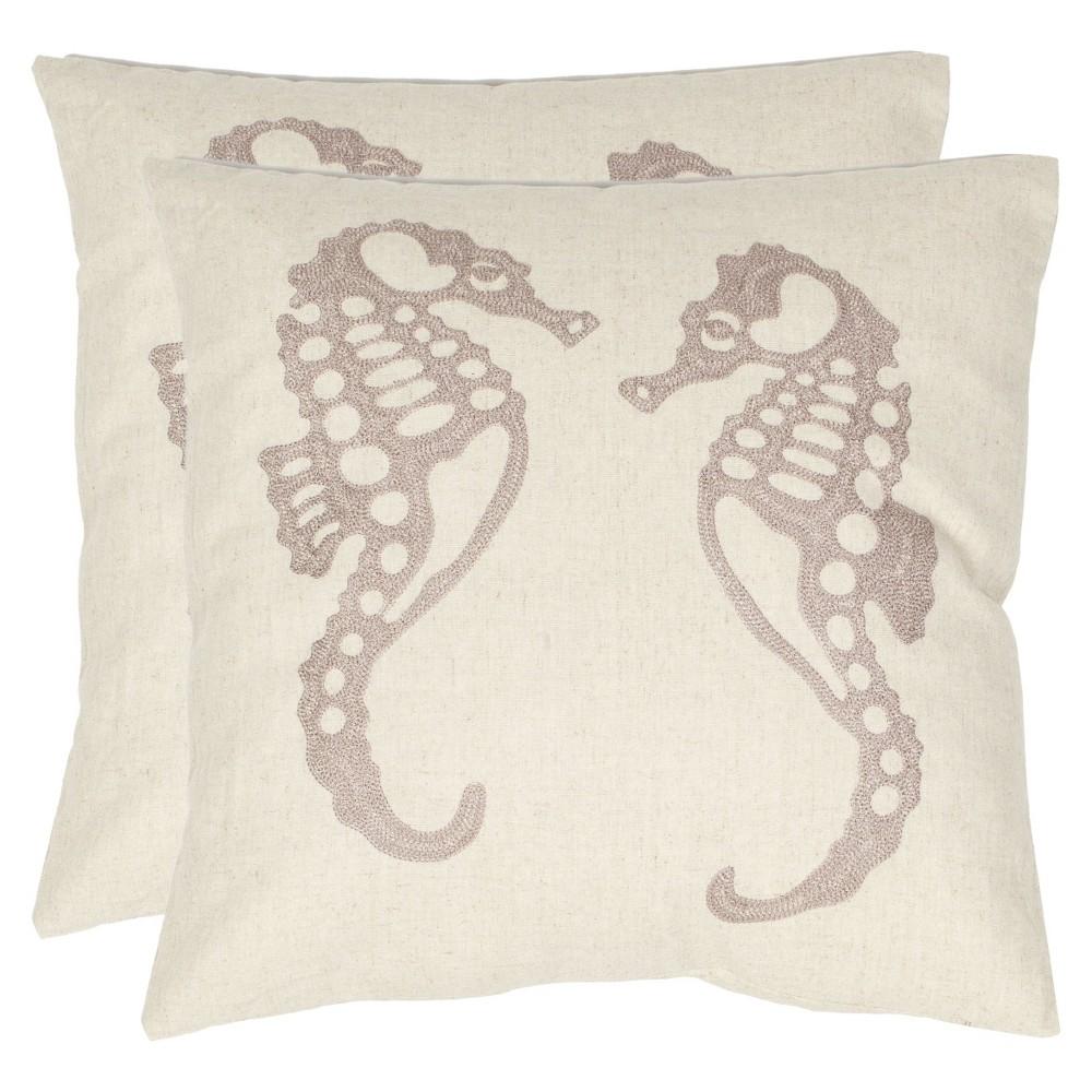 "Image of ""Ivory Dahli Seahorse Throw Pillow (18""""x18"""") - Safavieh"""