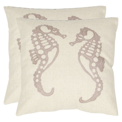 "Ivory Dahli Seahorse Throw Pillow (18""x18"") - Safavieh® - image 1 of 1"