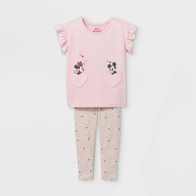 Toddler Girls' Minnie and Mickey Mouse Valentine's Day Short Sleeve Top and Bottom Set - Pink