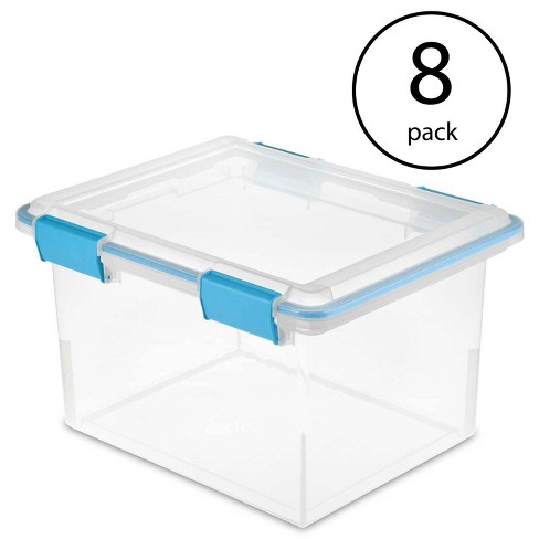 Sterilite 19334304 Clear 32 Quart Gasket Box with Clear Base and Lid (8 Pack) - image 1 of 1