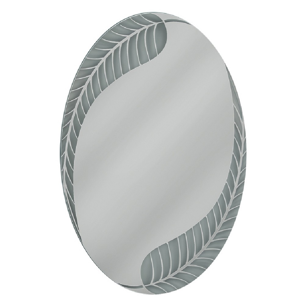 "Image of ""Head West 23"""" x 35"""" Palm Leaf Oval Mirror"""
