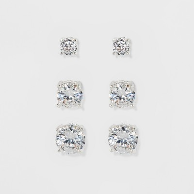 Women's Fashion Trio Crystal Round Stud Earring Set 3pc - A New Day™ Silver