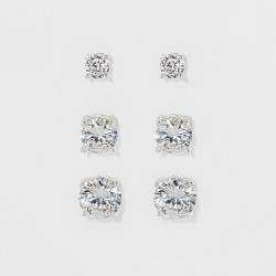 Women's Fashion Trio Crystal Round Stud - A New Day™ Silver